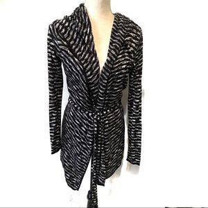 WHBM Black and White Pattern Hoodie Cardigan S